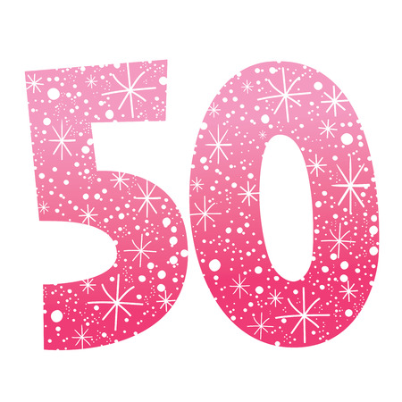 誕生日記念日のお祝いお祝い数 50  イラスト・ベクター素材