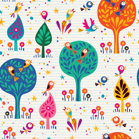 harmony nature: birds in the trees nature seamless pattern with lined paper background