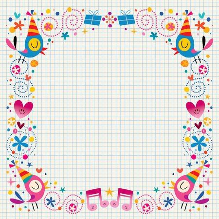 decorative design: Happy Birthday decorative border design elements