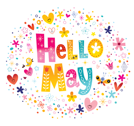 Hello May unique lettering with flowers and hearts spring design