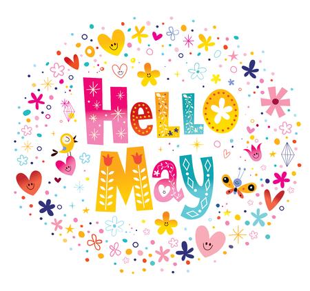 こんにちは 5 月の花と心の春デザインのユニークなレタリング