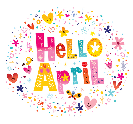 Hello April unique lettering with flowers and hearts spring design