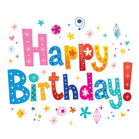 persona alegre: Feliz Cumpleaños tipo decorativo letras únicas
