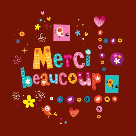 Merci beaucoup bardzo dziękuję w języku francuskim kartkę z życzeniami Ilustracje wektorowe