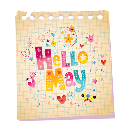 post scripts: Hello May notepad paper message with unique hand lettering Illustration
