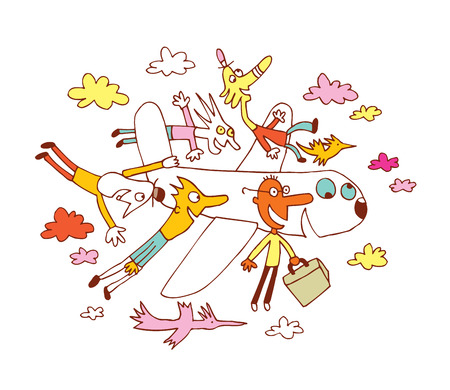 airplane travel: fun travel airplane cartoon illustration Illustration