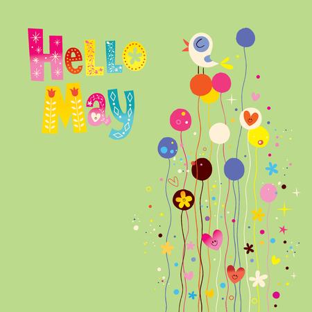 Hola tarjeta de primavera de mayo