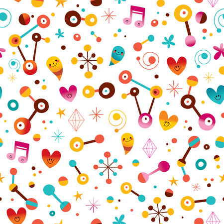 retro backgrounds: fun cartoon abstract art retro seamless pattern with cute characters