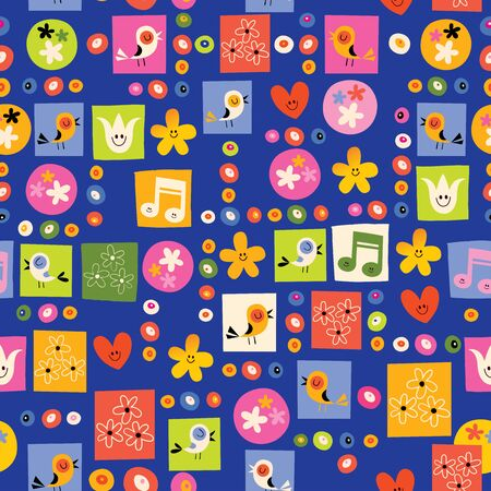 nature pattern: flowers and birds nature seamless pattern