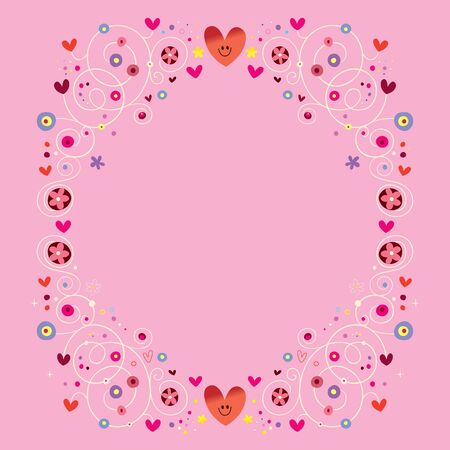 hearts and flowers floral ornamental frame