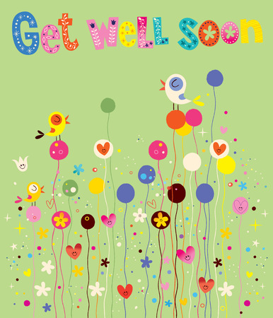 get well: Get well soon card with birds, flowers and hearts Illustration