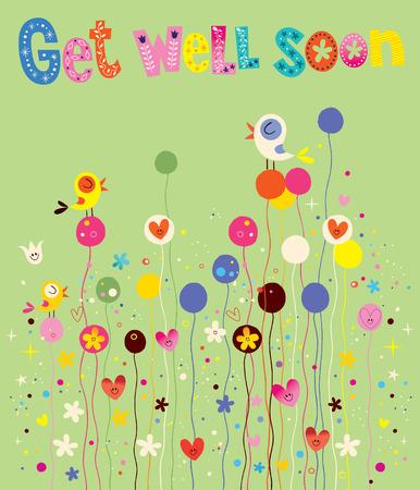 Obtener pronto la tarjeta bien con los pájaros, las flores y los corazones
