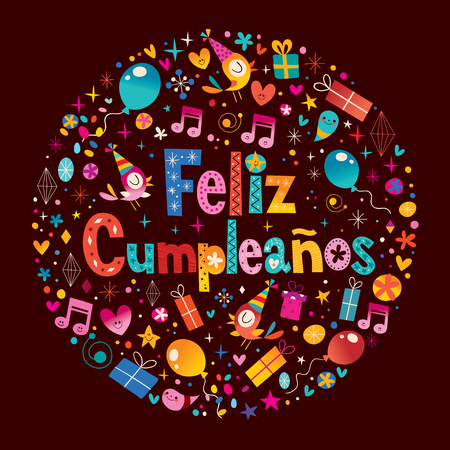 Feliz Cumpleanos - Happy Birthday in Spanish greeting card with circle composition