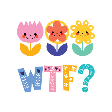 abbreviated: WTF greeting card with decorative lettering text