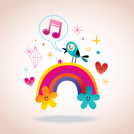 singing bird: rainbow flowers hearts and singing bird