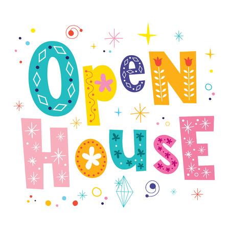 Open house decorative unique lettering type design