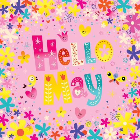 Bonjour Mai lettrage unique avec des fleurs et des coeurs ressort carte de voeux