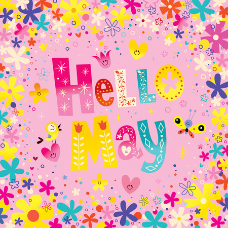 Hello May unique lettering with flowers and hearts spring greeting card
