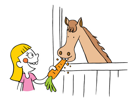 kid smile: Little girl feeding horse carrot