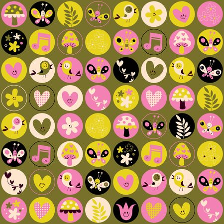 butterfly stationary: cute hearts birds flowers mushrooms nature pattern