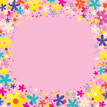 harmony nature: flowers border nature design elements