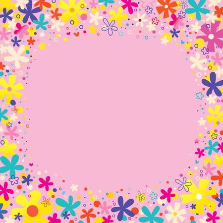borde de flores: Naturaleza flores frontera con elementos de diseño