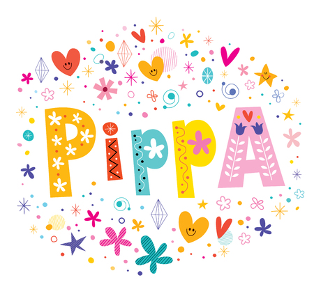 Pippa girls name decorative lettering type design
