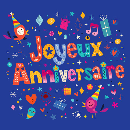 francais: Joyeux Anniversaire Happy Birthday in French card Illustration