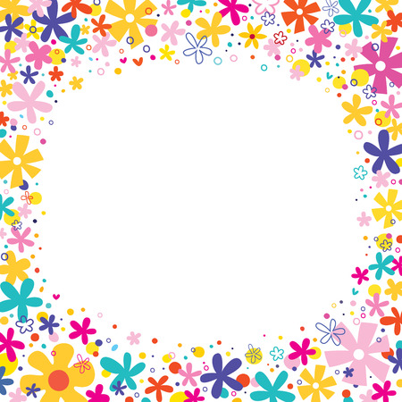 flowers border frame nature design elements Illustration