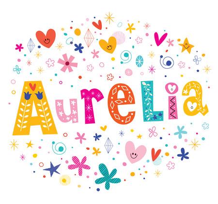 Aurelia girls name decorative lettering type design