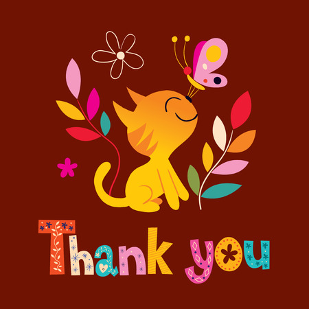 thank you card with cute kitten Ilustração