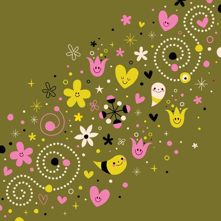 harmony nature: nature love harmony retro abstract art vector illustration design elements