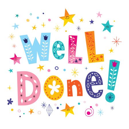 well done decorative lettering text greeting card