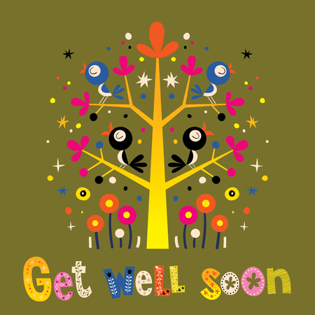 well: Get well soon card with cute birds