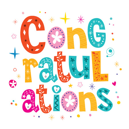 congratulations word: Congratulations typography lettering decorative type greeting card design