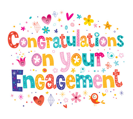 Congratulations on your engagement card  イラスト・ベクター素材