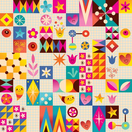 fun background: Retro style fun pattern with notebook paper background Illustration