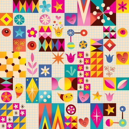 notebook paper background: Retro style fun pattern with notebook paper background Illustration