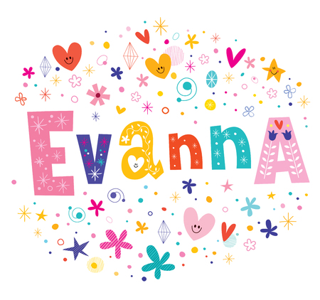 Evanna girls name decorative lettering type design