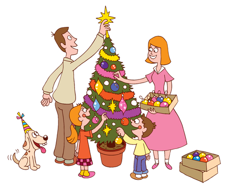 family decorating christmas tree together stock vector 59022030