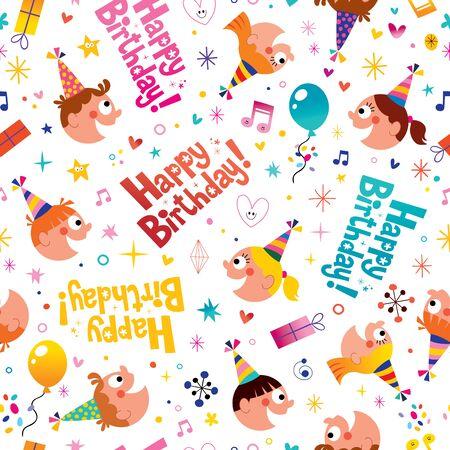 birthday party kids: Happy birthday party kids seamless pattern