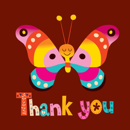 thankfulness: thank you card with cute butterfly