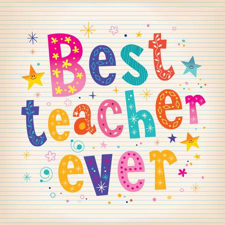 beste Lehrer jemals Schriftzug Design-Grußkarte mit linierten Notizbuch Papier Hintergrund Vektorgrafik