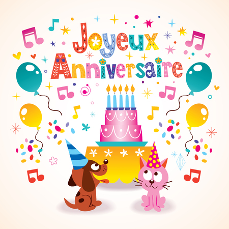 joyeux: Joyeux Anniversaire Happy Birthday in French kids greeting card
