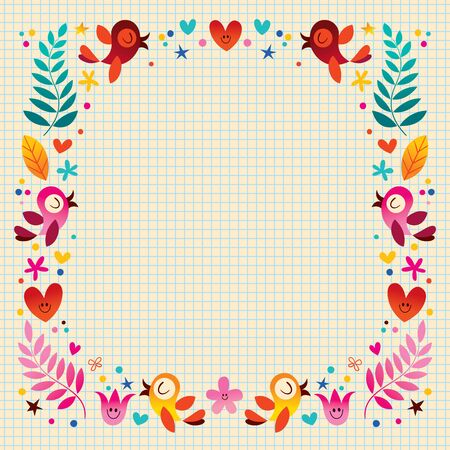 sing: nature frame with birds hearts and flowers Illustration