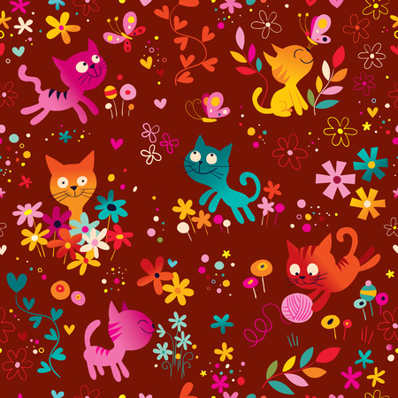 cute kittens, butterflies, flowers seamless pattern