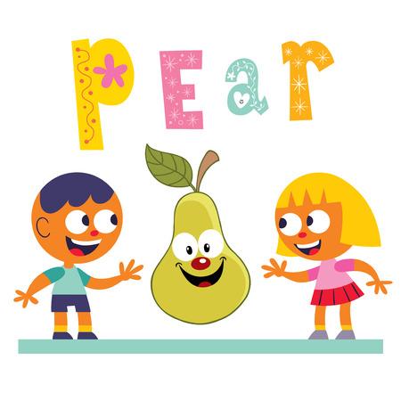 comiendo frutas: Carácter de la mascota de la pera linda con niños