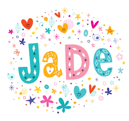 Jade girls name decorative lettering type design