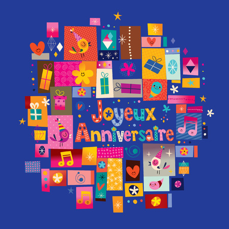 salutation: Joyeux Anniversaire Happy Birthday in French greeting card Illustration