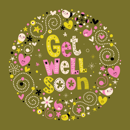 Get well soon card retro-stijl